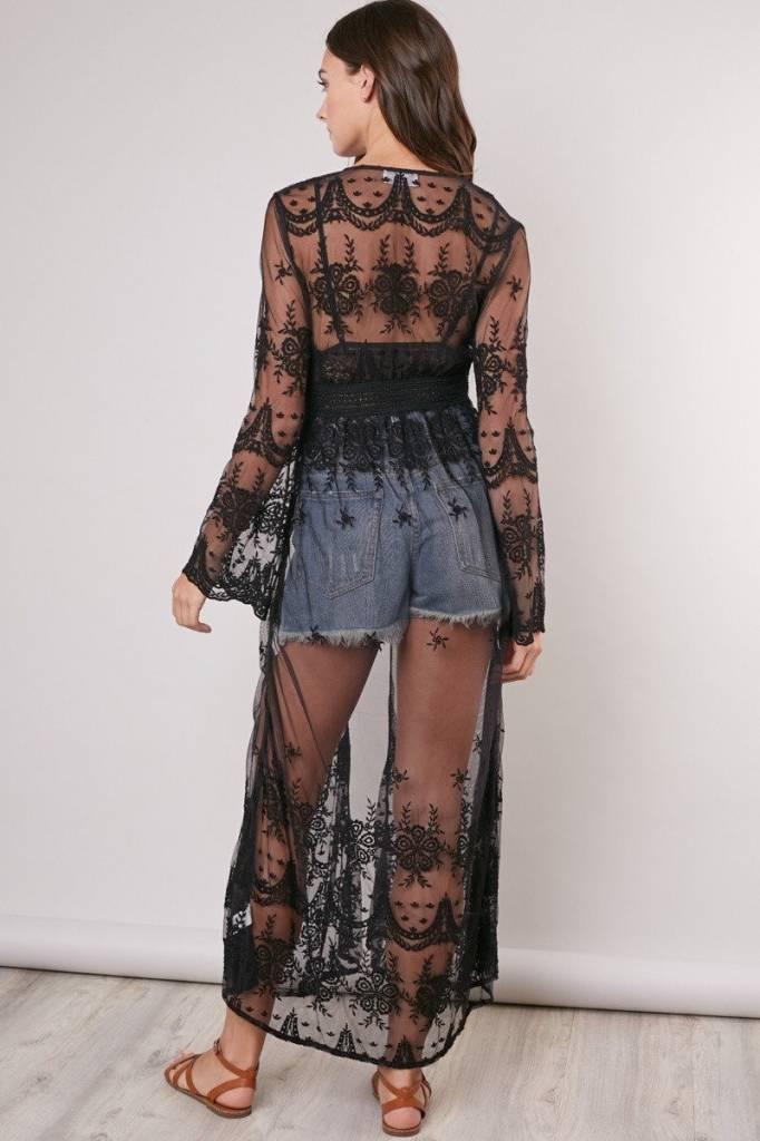Kimono - Sheer Black Lace Duster