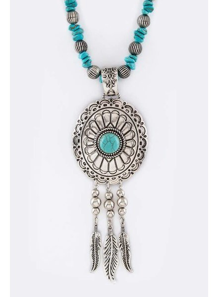 Concho Feather Necklace