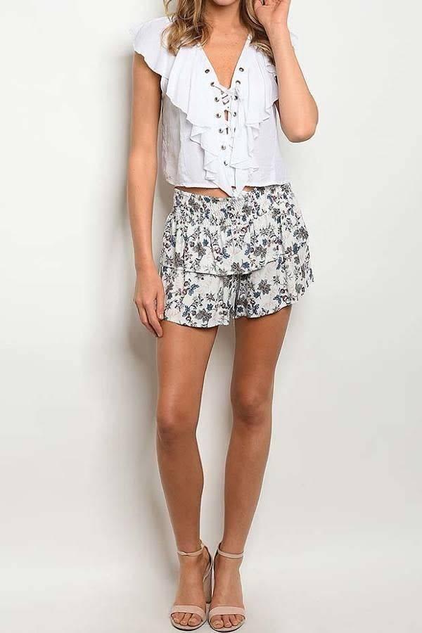 White Floral Print Shorts