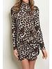 Leopard Print mock Neck Mini Dress