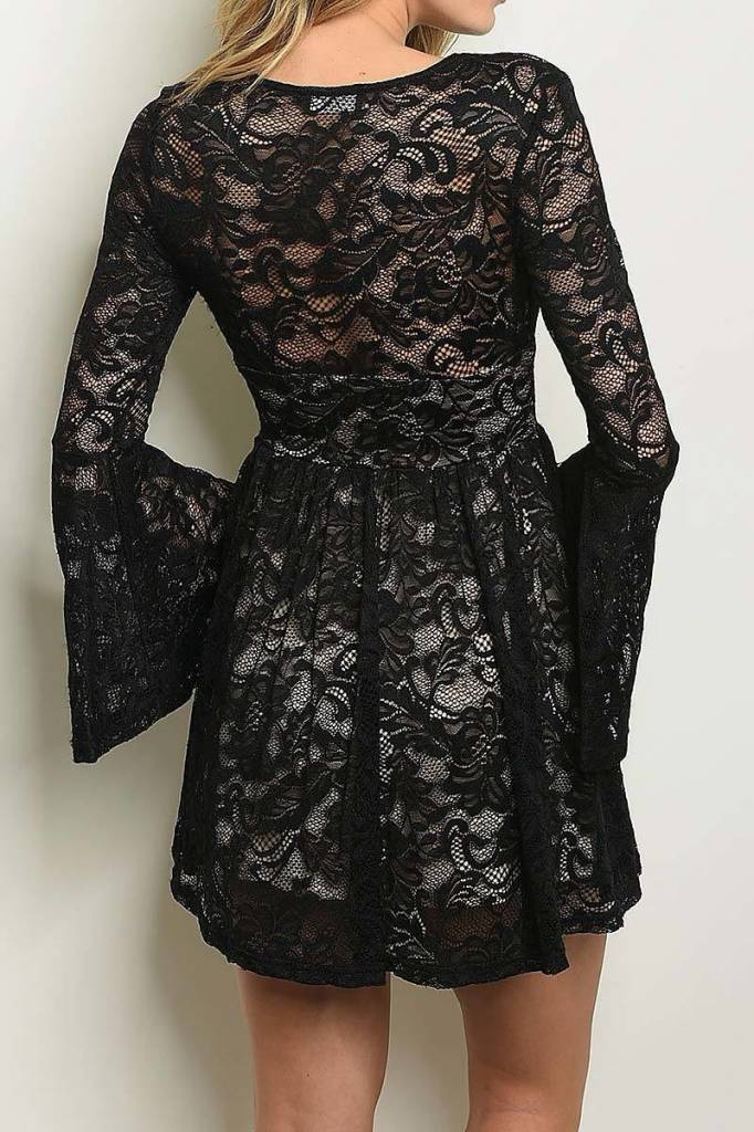 Black Bell Sleeve Lace Dress