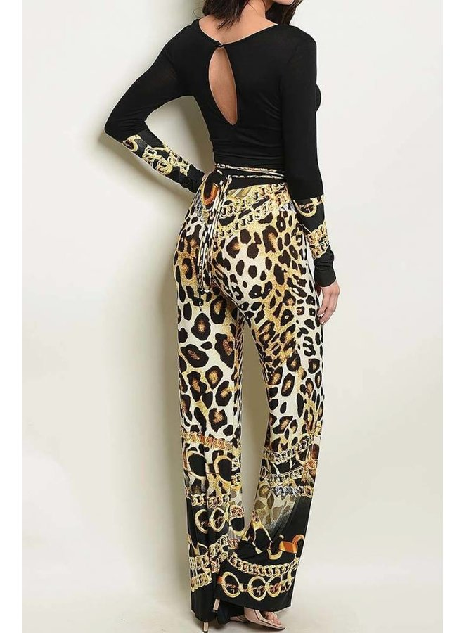 Black & Gold Cheetah Accent Jumper