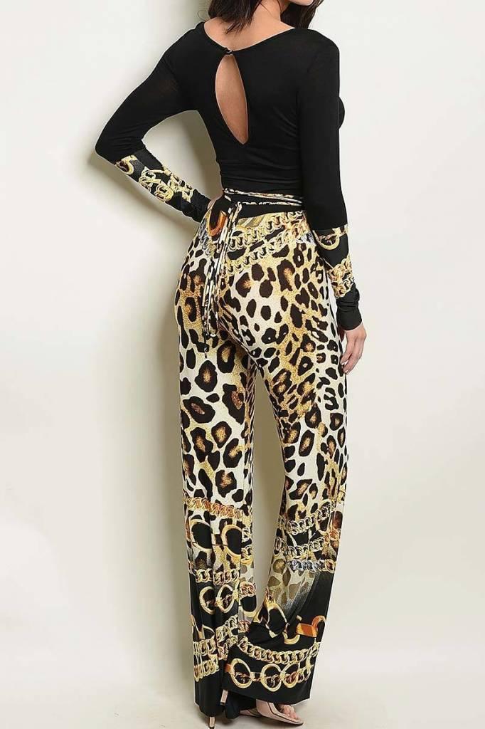 Black & Gold Cheetah Accent Jumper