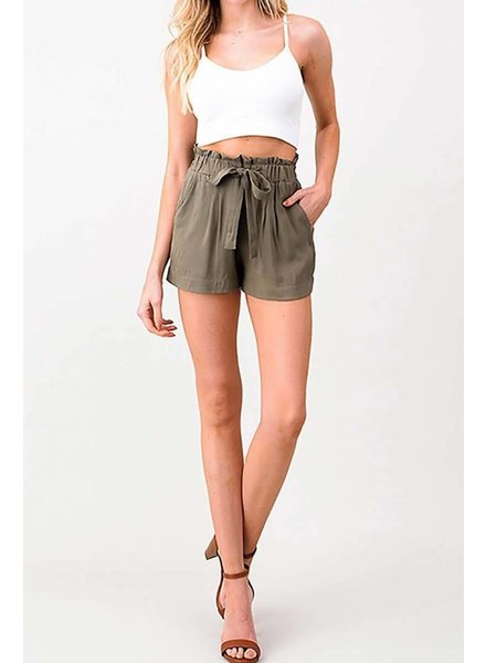 Olive Green Tie shorts