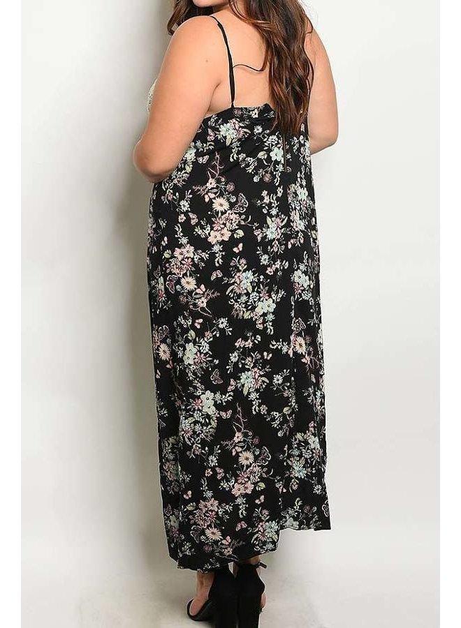 Black Floral Plus Size Maxi Dress