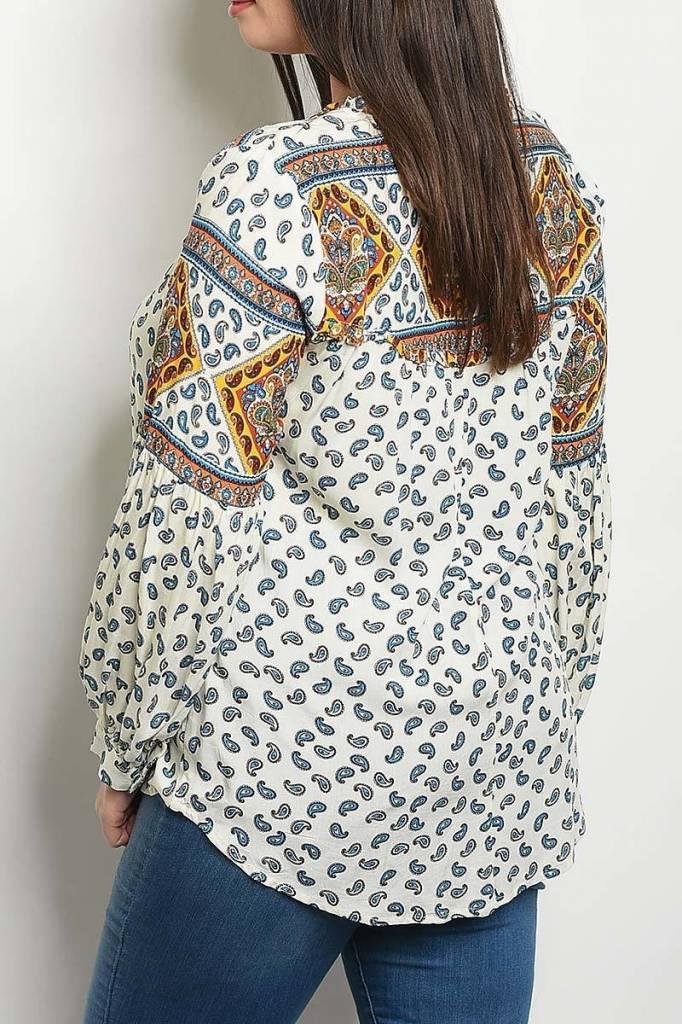 Ivory Paisley Print Plus Size Blouse