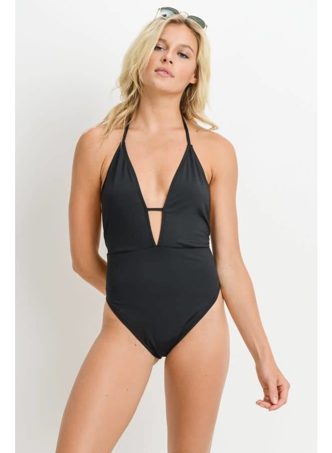 Black Solid Deep Halter One-Piece