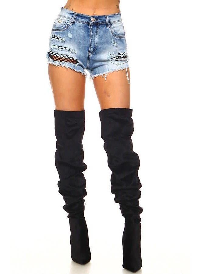 Denim Fishnet Shorts