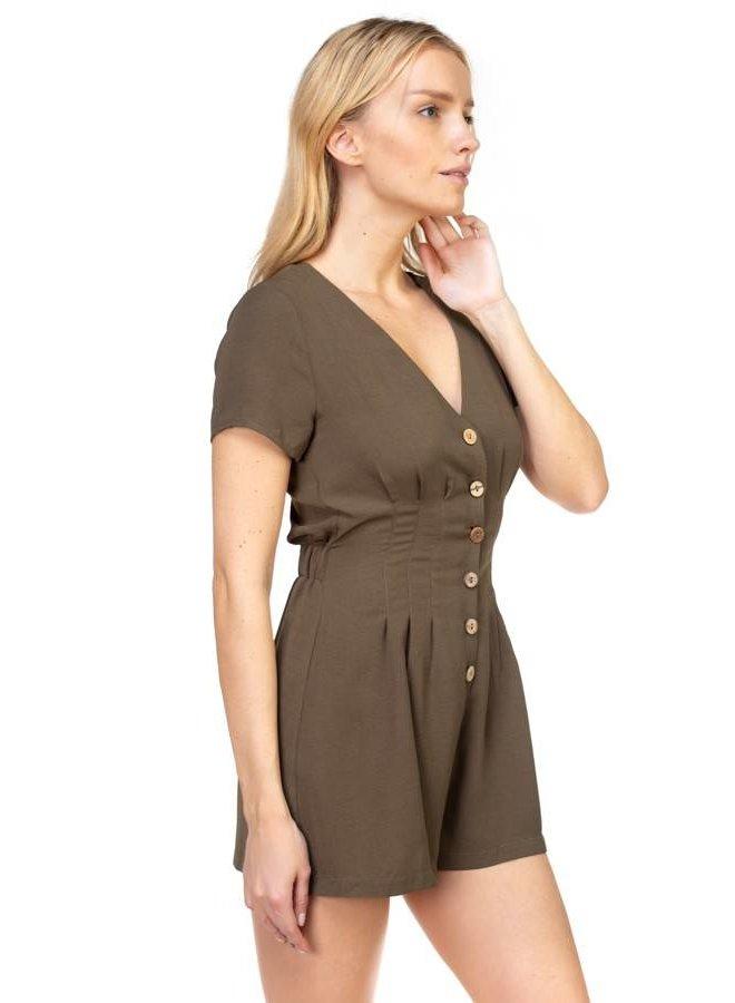 Olive Button Down Romper