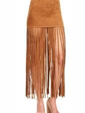 Camel Suede Fringe Skirt