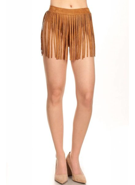 Camel Suede Fringe Bottoms