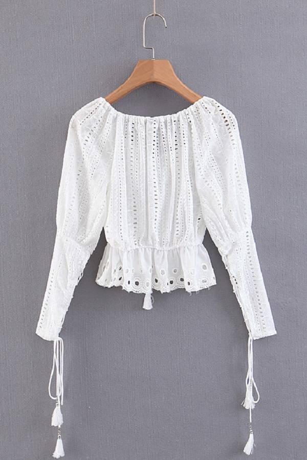 White Long Sleeve Tassel Crop Top