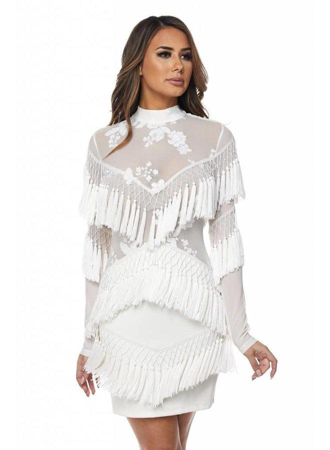 White Tassel Long Sleeve Dress