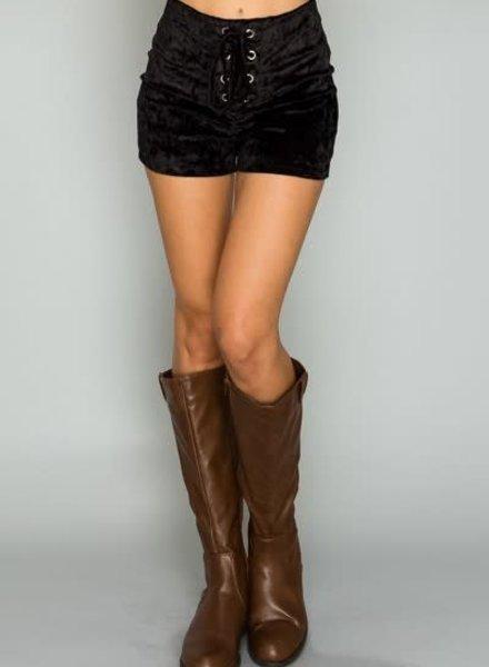 Black Lace Up Detail Shorts
