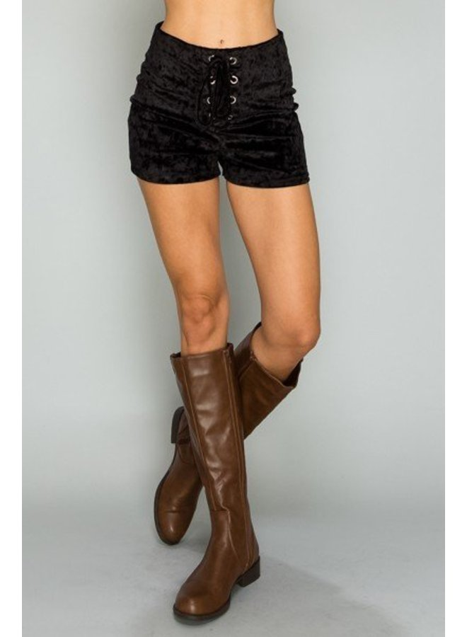 Black Lace Up Detail Shorts