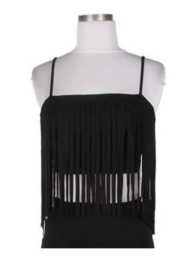 Fashion Black Suede Fringe Top