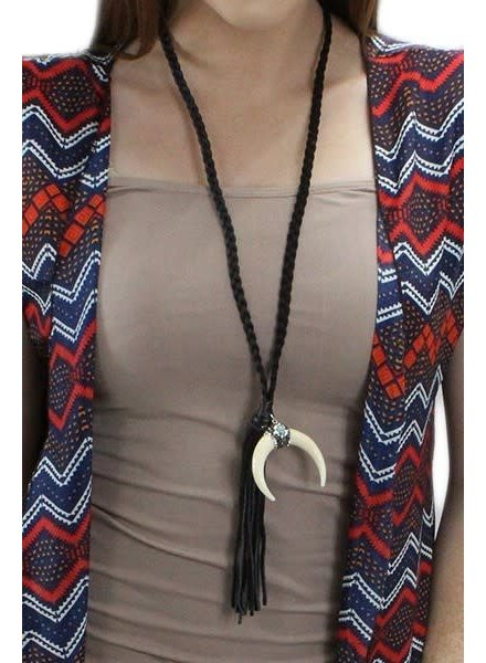 Horn Leather Tassel Necklace