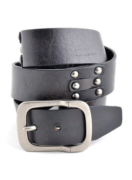 Black Genuine Leather Vintage Belt