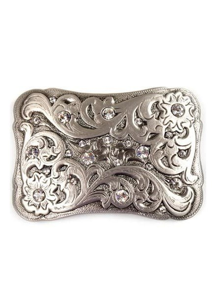 Rectangular Rhinestone Engraved Belt Buckle