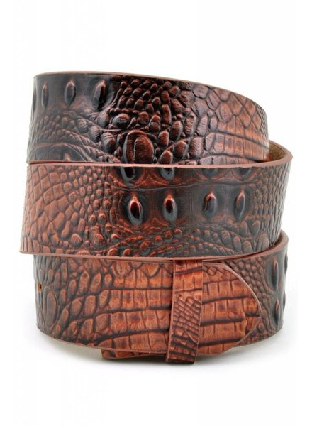 Brown Croco Print Genuine Leather Belt