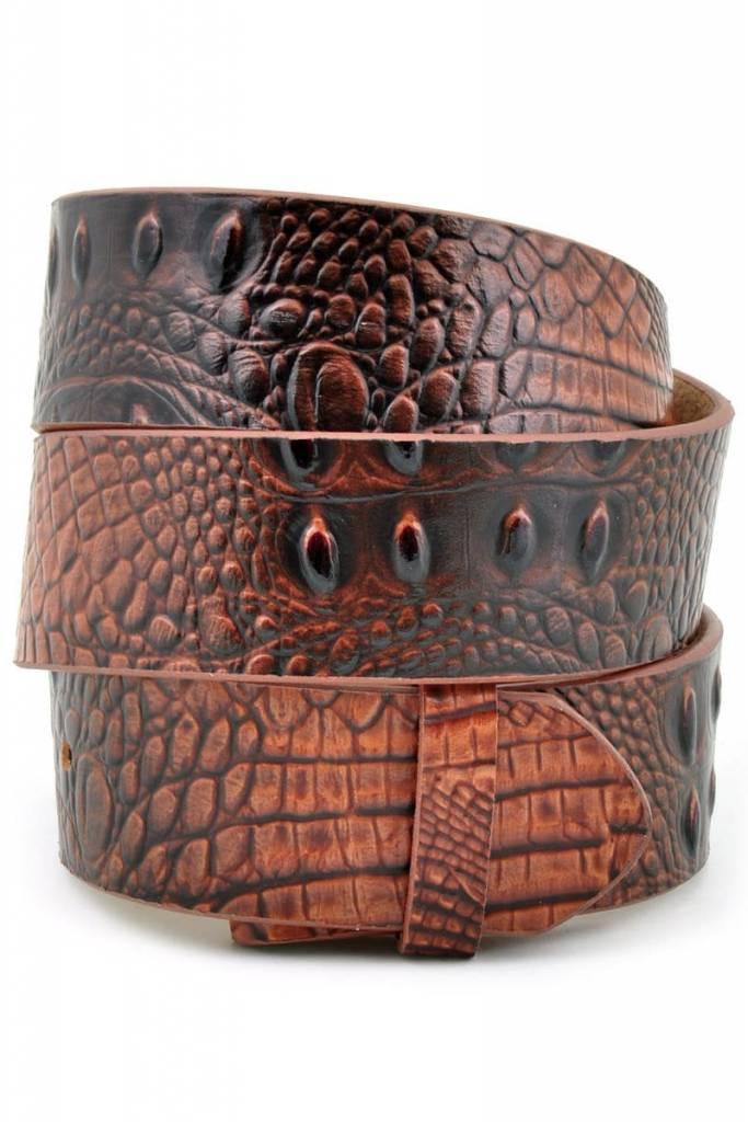 Brown Croco Print Genuine Leather Belt