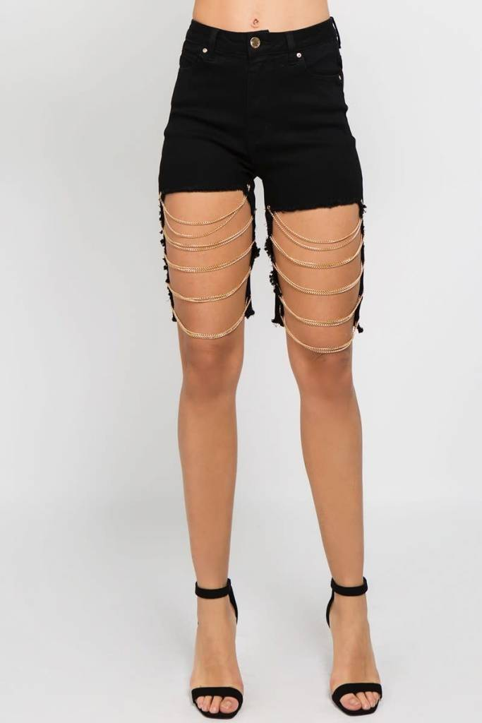 Black Detailed Chain Shorts