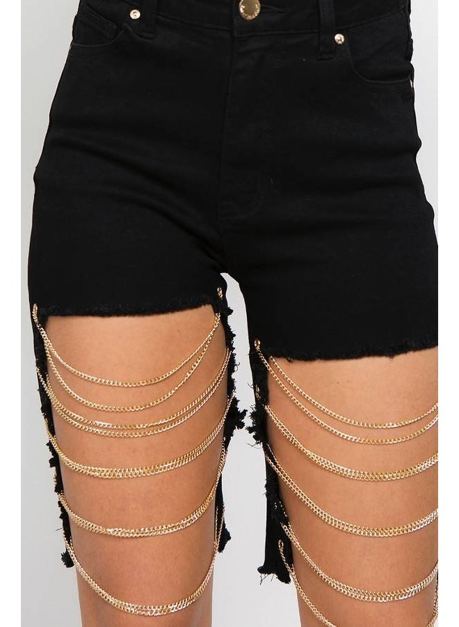 Black Detailed Chain Shorts