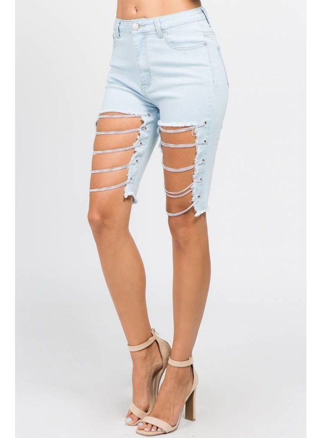 Light Blue Chain Detailed Shorts
