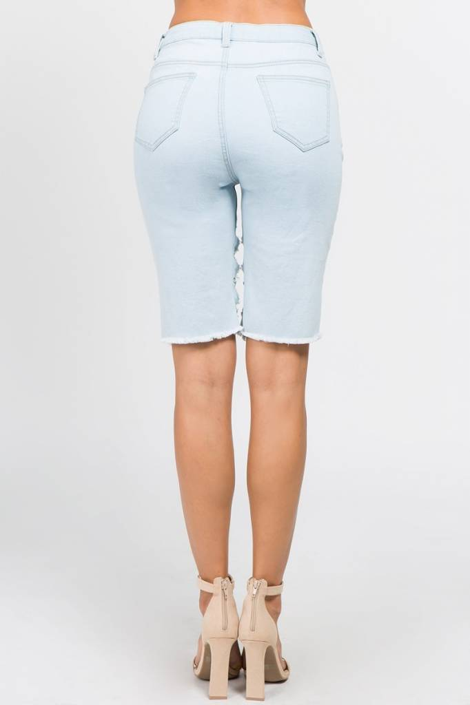 Light Blue Chain Detailed Shorts