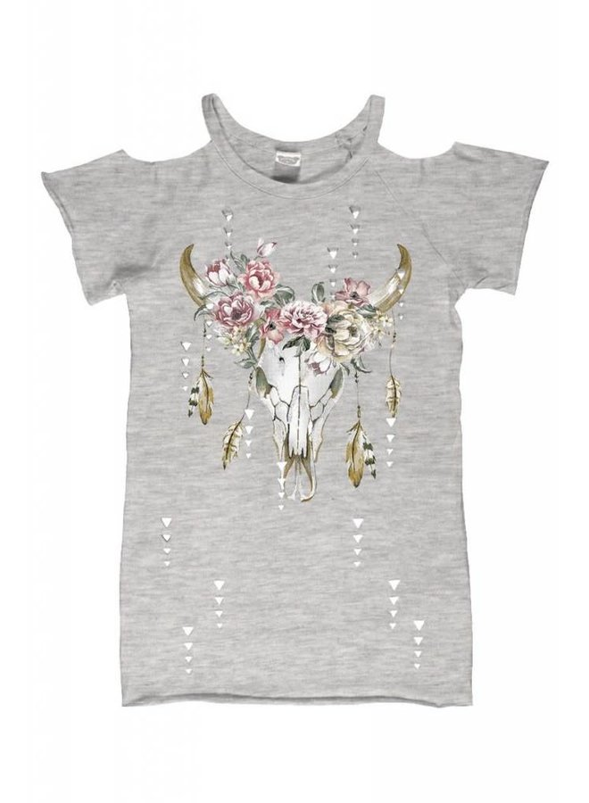 Gray Laser Cut Cold Shoulder Floral Bull Skull Top
