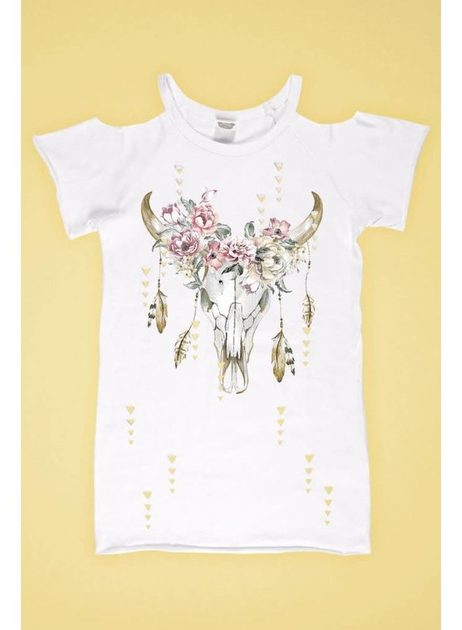 White Laser Cut Cold Shoulder Floral Bull Skull Top