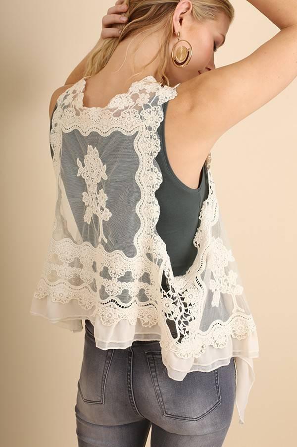 Nude Knit Crochet Vest