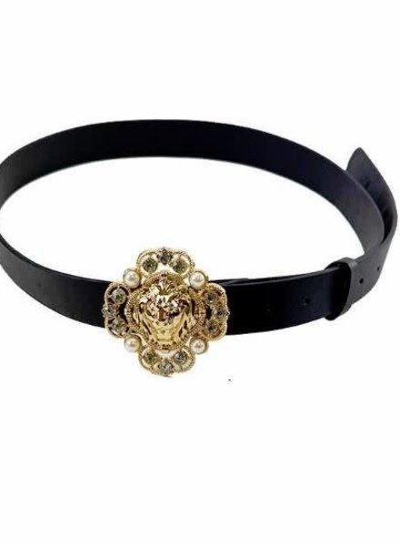 Jeweled Lion Head Buckle Belt