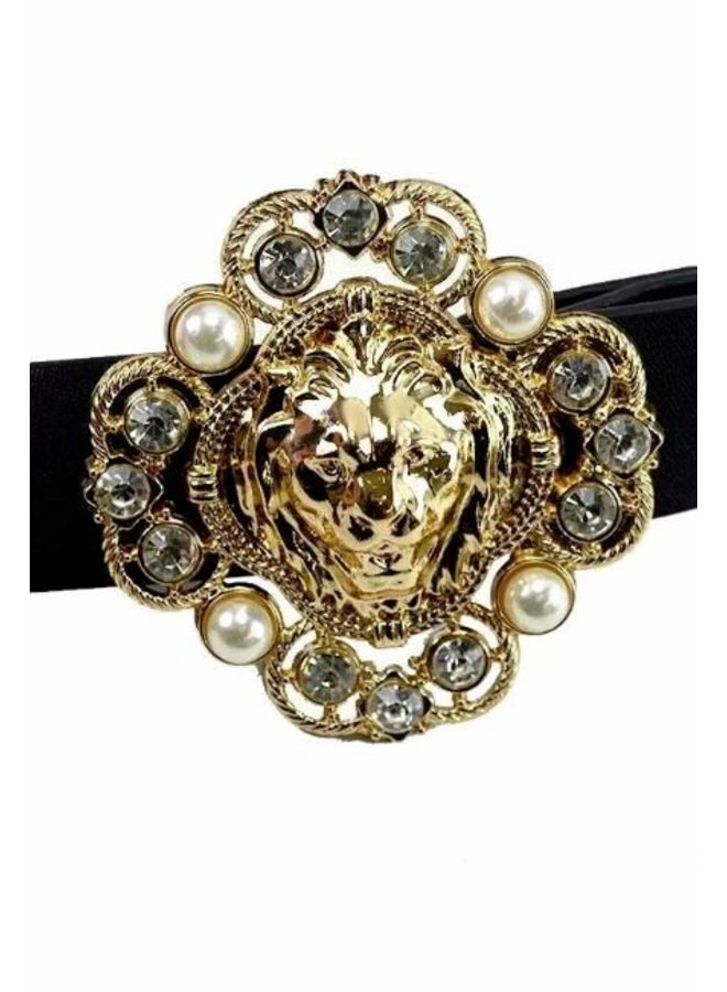 Jeweled Lion Head Buckle Belt
