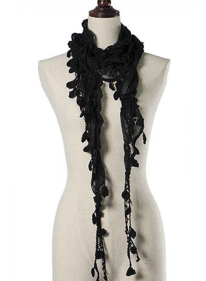 Black Knit Leaf Scarf