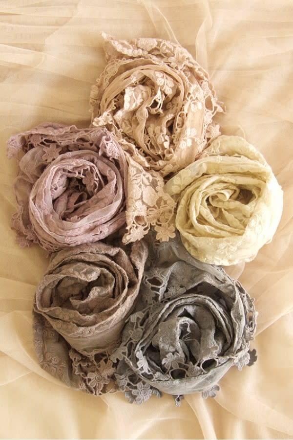 Flower Trim Lace Scarf