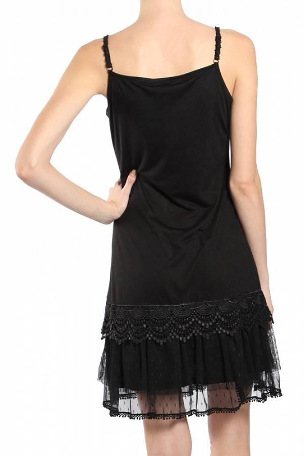 Black Ruffle Trim Slip Dress