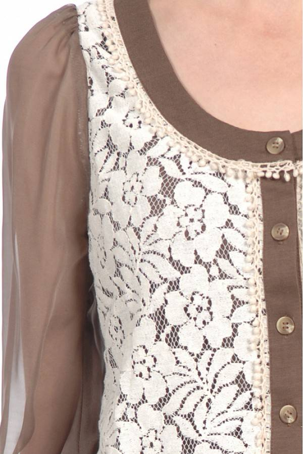 Scoop Neck Rose Detail Cardigan
