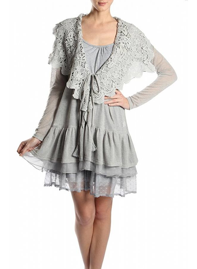 Grey Crochet Collar Cardigan