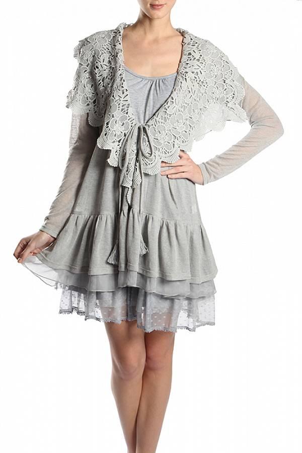 Grey Crochet Collar Cardigan