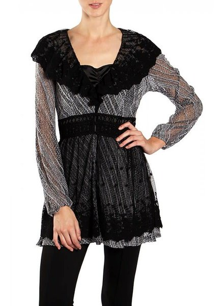 Black Lace Neckline Cardigan