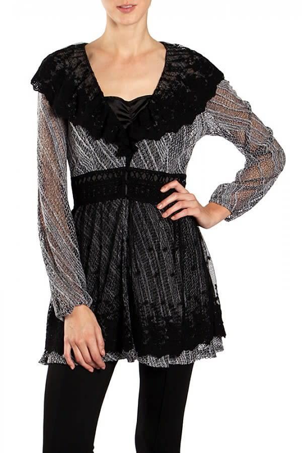 Black Lace Neckline Cardigan