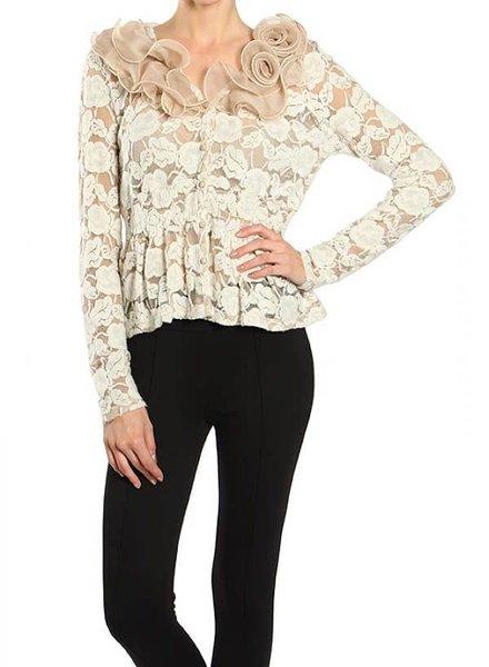 Taupe Floral Neckline Cardigan