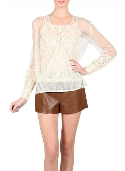 Cream Long Sleeve Chiffon Top