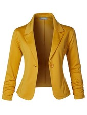 Slim Fit Ruched Blazer - Mustard
