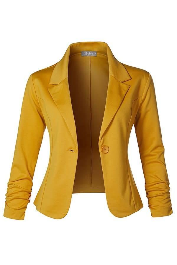 Slim Fit Ruched Blazer - Mustard
