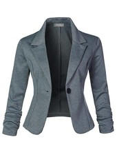 Slim Fit Ruched Blazer - Heather Grey