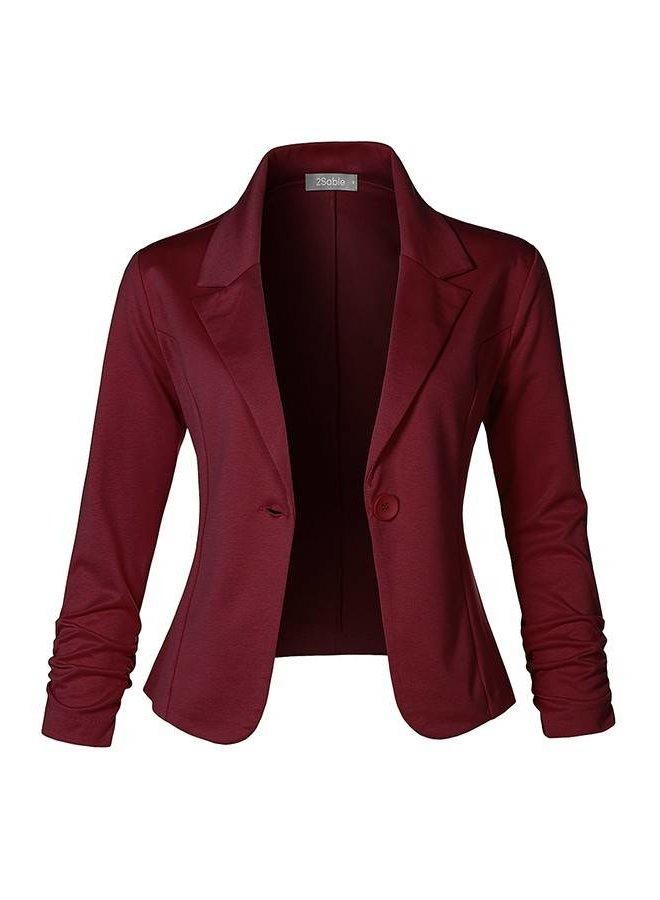 Slim Fit Ruched Blazer - Red