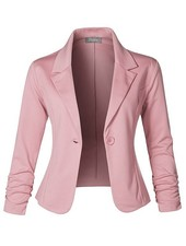 Slim Fit Ruched Blazer - Rose