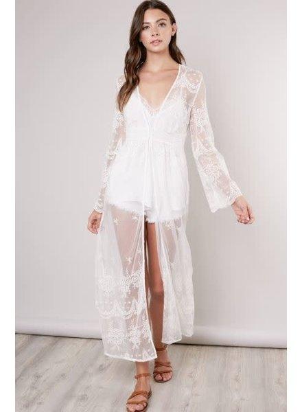 Kimono - Sheer White Lace Duster